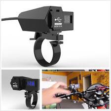Motorcycle GPS Phone Dual USB Power Socket Charger + Bule LED Voltage Voltmeter