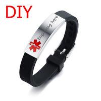 Men Women Medical Alert ID Black Silicone Bracelet Wristband DIY Free Engraving
