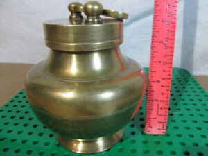 1930's Old Solid Brass Handcrafted Holy Water Pot Threaded Cover W/Suspended Cup