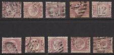 1870 1/2d ROSE RED SG48/9 NICE LOT OF 10 DIFFERENT PLATES ALL GOOD/NICE USED