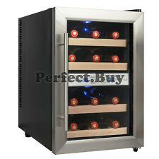 12 Bottle Freestanding Dual Zone Thermoelectric Wine Cooler with Wooden Shelves