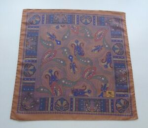 Etro Milano Small Silk Scarf Pocket Square Handkerchief Paisley on Brown