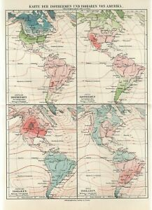 1898 AMERICA ISOTHERMAL ISOBAR COUTUR LINES METEOROLOGY Antique Map