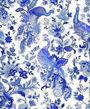 PEACOCK Fabric Cotton Craft Quilting PAISLEY Silver Blue White By the Metre