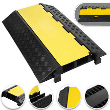 Yellow & Black Rubber Floor Cable Wire Cover Tidy Protector Safety Ramp