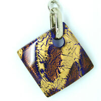 Murano Glass Keyring Brown and Gold Handmade from Venice