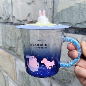 Hot Sale Starbucks 355ml Moon Rabbit Tasting Coffee Glass Cup Cute Rabbit Lid