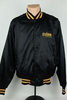 Vintage NAPA Auto Parts The Legend Adult L Black/Yellow Satin Bomber Jacket USA