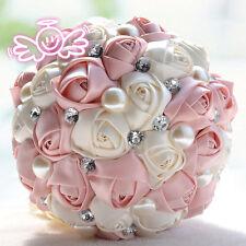 Handmade Ribbon Rose Flowers Wedding Bridemaid Crystal Bouquet 6 inch Flowers