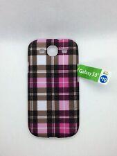 Samsung Galaxy S3 Hard Designer Phone Case Pink/Black Plaid