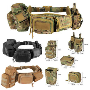 Tactical Molle Waist Belt Military Soft Padded Patrol Combat Battle Web Belt Bag