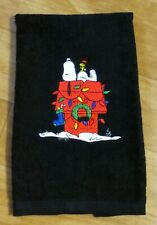 Embroidered SNOOPY &  Woodstock  Christmas Doghouse Black cotton fingertip towel