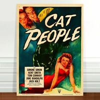 "Vintage Horror Movie Poster Art ~ CANVAS PRINT 16x12"" The Cat People"