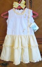 Will'beth boutique girls dress Sz 4T Yellow White Sleeveless NWT