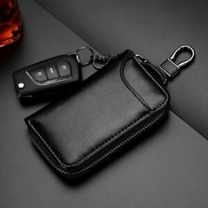 Zipper Wallet Leather Men Key Holder Pouch Purse Unisex Useful Key Organizer Bag