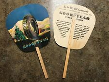 2 Vintage GoodYear All Weather Balloon Tires Advertising Fans - Rittman, Ohio