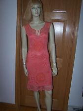 SUE WONG Crochet Knit Dress Salmon Sz 0 100% Rayon Sleeveless Lined MINT!