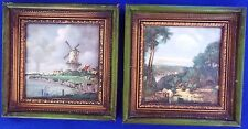 Pair of Vintage Hand Painted Ceramic Tiles Framed By H & R Johnson - England
