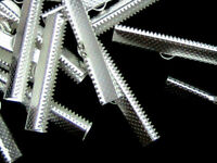 25 Pcs Silver Plated Ribbon Ends / Clasps 16mm x 6mm Jewellery Findings  C81