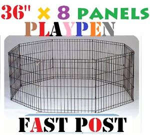 """36"""" x 8 pcs Panel Playpen play pen Pet Dog Puppy Exercise Cage fence"""