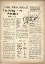 Renault 8.3 hp 1939 Motor Trader Service Data No. 88 1940