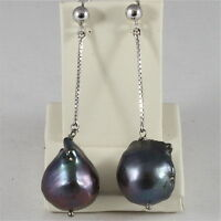 18K WHITE GOLD PENDANT EARRINGS WITH BAROQUE DROP BLACK PEARLS, MADE IN ITALY