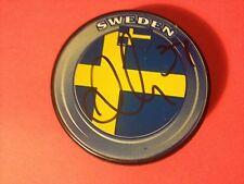 Andon Lander Oilers Team Sweden Flag Signed Auto Puck W/COA