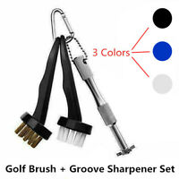 Golf Club Cleaning Brush & 6 Head Groove Sharpener Cleaner Set For Wedges Irons