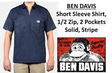 Ben Davis Men Short Sleeve Solid&Stripe 1/2 Zip Shirt with 2 Pockets