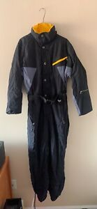 Fera Skiwear Black Yellow Gray One Piece Ski Suit Coverall Size medium M