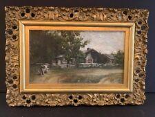 Antique Adirondack Farm Scene Painting Oil on Canvas
