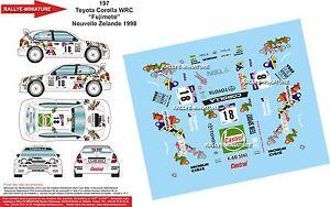 Decals 1/24 Ref 197 Toyota Corolla WRC Fujimoto Rally New Zealand 1998
