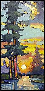 Wm HAWKINS  Sunset  Thick  Paint Clouds Landscape Impressionism Oil Art Painting
