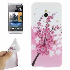 TPU Case für HTC One Mini M4 Blütenzweig pink weiß Etui Hülle Cover Schutzhülle