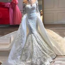 Wedding Dresses Removable Detachable Train Long Sleeves Appliques Plus Size Lace