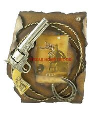 """Rustic Western Metal Picture Frame Pistol Horseshoe Barbed Wire 4 x 6"""" Photo"""