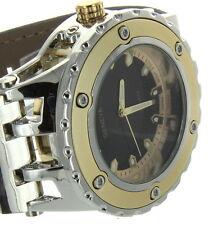 Jumbo Big Face Heavy Chrome & Gold Finish Boyfriend Style Leather Band Watch