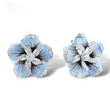 Pretty Stud Earrings for Women 925 Silver White Sapphire Earrings A Pair/set