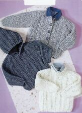 ARAN Knitting Pattern for CHILDREN copy Sweater Cardigan with/without hood