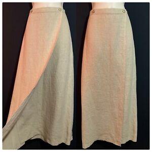MARILYN ANSELM HOBBs Designer Linen Wrap Skirt Long Maxi Cargo Safari Beige UK14