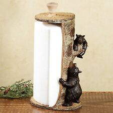 Rustic Lodge Decor Paper Towel Holder Dispenser Black Bears Kitchen Dining