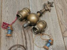 New listing Antique Brass 2 Light Lamp Cluster Parts w/ Benjamin Pull Chain Sockets & Finial