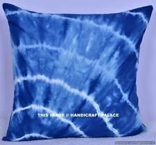 "Indian Cotton Tie Dye Shibori 16"" Decor Blue Cushion Cover Sofa Sham Home Decor"