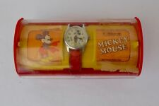 Disney Mickey Mouse Wrist Watch w/ Original Leather Band by Bradley Time in  00004000 Box