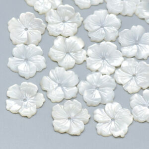 10Pcs Natural White Mother of Pearl Flower Shell Beads Jewelry Making 13.5x14mm
