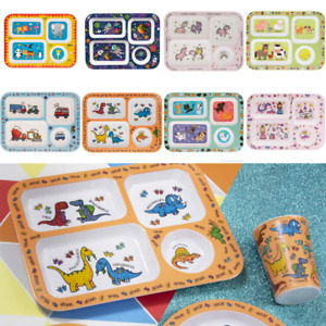 Childrens Melamine Kids Eating Tray Friendly Dinner Set Tray Cutlery Cup Plate