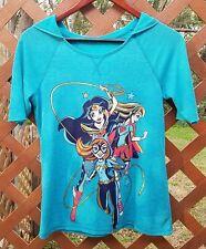 Wonder Woman Batgirl Supergirl Blue Girls Sz L / Womens S Hoodie Shirt