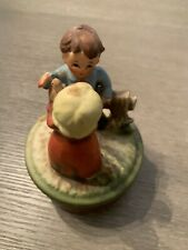 Vintage Ceramic Wind Up Rotating Music Box Girl And Boy Dancing. Plays music