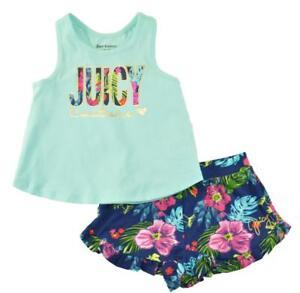 Juicy Couture Girls Mint & Multi Color 2pc Short Set Size 2T 3T 4T 4 5 6 6X