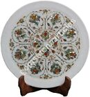 """12"""" Marble White Plate Pauashell Inlaid Floral Marquetry Art Columbus Gift Decor"""